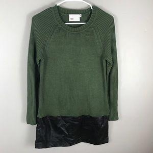 Anthro Yoon sweater green faux leather hem crew
